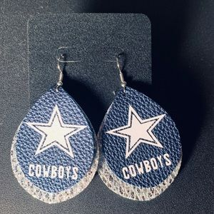 Dallas Cowboys faux leather earrings